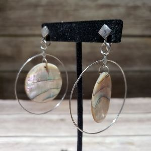 Vtg polished shell and wire hoop clip on earrings